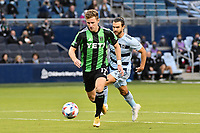 KANSAS CITY, KS - MAY 9: Jon Gallagher #17 Austin FC with the ball during a game between Austin FC and Sporting Kansas City at Children's Mercy Park on May 9, 2021 in Kansas City, Kansas.