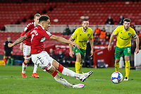Middlesbrough's Marcus Tavernier scores the opening goal from the penalty spot, only for it too be disallowed for taking two touches<br /> <br /> Photographer Alex Dodd/CameraSport<br /> <br /> The EFL Sky Bet Championship - Middlesbrough v Norwich City - Saturday 21st November 2020 - Riverside Stadium - Middlesbrough<br /> <br /> World Copyright © 2020 CameraSport. All rights reserved. 43 Linden Ave. Countesthorpe. Leicester. England. LE8 5PG - Tel: +44 (0) 116 277 4147 - admin@camerasport.com - www.camerasport.com