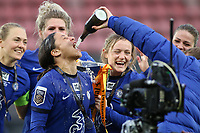 14th March 2021; Vicarage Road, Watford, Herts;  Sam Kerr Chelsea celebrates their victory with teammates during the trophy ceremony after the FA Womens Continental Tyres League Cup final game between Bristol City and Chelsea at Vicarage Road Stadium in Watford. FA Womens Continental Tyres Cup Final