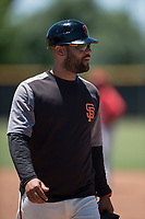 San Francisco Giants Black coach Hector Borg during an Extended Spring Training game against the Los Angeles Angels at the San Francisco Giants Training Complex on May 25, 2018 in Scottsdale, Arizona. (Zachary Lucy/Four Seam Images)