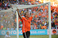 Dirk Kuyt celebrates his goal, which gave the Netherlands a 2-0 lead over Denmark. Holland defeated Denmark, 2-0, June 14th, at Soccer City in the opening match of Group E of the 2010 FIFA World Cup.