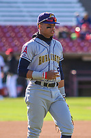 Burlington Bees outfielder Jordyn Adams (2) prior to a Midwest League game against the Wisconsin Timber Rattlers on April 26, 2019 at Fox Cities Stadium in Appleton, Wisconsin. Wisconsin defeated Burlington 2-0. (Brad Krause/Four Seam Images)