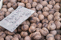 Walnuts for sale at a market stall at the market in Bergerac for 3 euro per kilo Bergerac Dordogne France