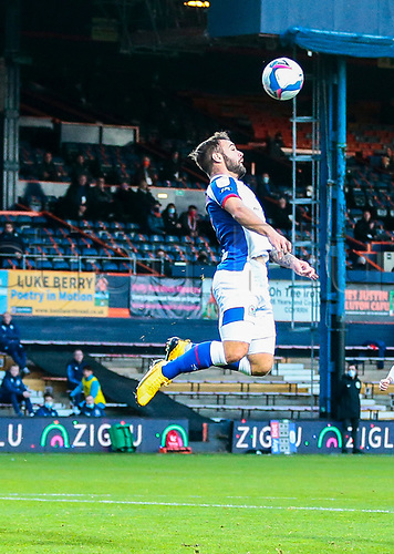 21st November 2020; Kenilworth Road, Luton, Bedfordshire, England; English Football League Championship Football, Luton Town versus Blackburn Rovers; Adam Armstrong of Blackburn Rovers and leading this seasons goal total of 12 trying to take a high ball on his chest