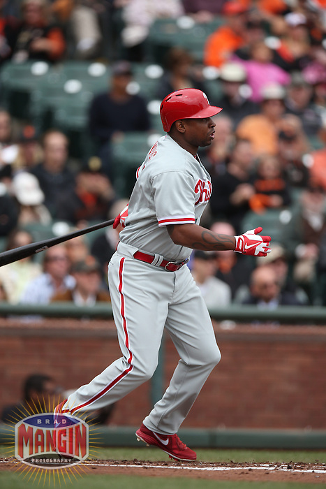 SAN FRANCISCO, CA - MAY 8:  Delmon Young #3 of the Philadelphia Phillies bats against the San Francisco Giants during the game at AT&T Park on Wednesday, May 8, 2013 in San Francisco, California. Photo by Brad Mangin