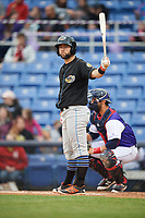 Akron RubberDucks left fielder Joe Sever (9) at bat during a game against the Binghamton Rumble Ponies on May 12, 2017 at NYSEG Stadium in Binghamton, New York.  Akron defeated Binghamton 5-1.  (Mike Janes/Four Seam Images)