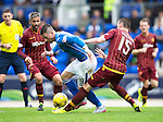 St Johnstone v Motherwell...22.08.15  SPFL   McDiarmid Park, Perth<br /> Michael O'Halloran gets between Keith Lasley and Joe Chalmers<br /> Picture by Graeme Hart.<br /> Copyright Perthshire Picture Agency<br /> Tel: 01738 623350  Mobile: 07990 594431