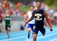 Bishop Heelan's Preston Ives leans at the finish to win the 3A boys 4x200 meter relay at the state high school track & field championships May 21, 2010 at Drake Stadium In Des Moines, Iowa.  The team set a new state record with a time of 1:28.42.