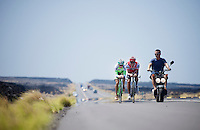 2 time Ironman Hawaii winner Chris 'Macca' McCormack & Bart Aernouts out training together on the Queen K.<br /> <br /> Iron Man World Championships 2012. Kona, Hawaii