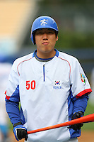 Hyun Soo Kim of Korea during a game against Venezuela at the World Baseball Classic at Dodger Stadium on March 21, 2009 in Los Angeles, California. (Larry Goren/Four Seam Images)