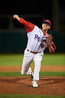 Stockton Ports relief pitcher Brendan Butler (22) delivers a pitch during a California League game against the Rancho Cucamonga Quakes at Banner Island Ballpark on May 16, 2018 in Stockton, California. Rancho Cucamonga defeated Stockton 6-3. (Zachary Lucy/Four Seam Images)
