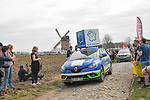 The publicity caravan ahead of the race on one of the cobbled sectors before the 116th edition of Paris-Roubaix 2018. 8th April 2018.<br /> Picture: ASO/Bruno Bade | Cyclefile<br /> <br /> <br /> All photos usage must carry mandatory copyright credit (© Cyclefile | ASO/Bruno Bade)