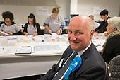 Conservative council leader Richard Cornelius.  London Borough of Barnet local election count.
