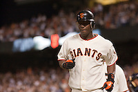 21 April 2009: San Francisco Giants' shortstop Edgar Renteria is seen after his grand slam off San Diego Padres starting pitcher Jake Peavy in the fourth inning  during the San Francisco Giants' 8-3 win over the San Diego Padres at AT&T Park in San Francisco, CA.