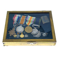 BNPS.co.uk (01202) 558833. <br /> Pic: Fellows/BNPS<br /> <br /> Pictured: The medal set awarded to Captain Walter Cornock. <br /> <br /> A stoic letter from a British World War One officer saying he would rather 'die a man's death than feel I had failed' has come to light 104 years on.<br /> <br /> Captain Walter Cornock, of the 12th Battalion, Gloucestershire Regiment, distinguished himself during the Third Battle of Ypres in 1917 and the 1918 German Spring Offensive.<br /> <br /> The correspondence to his father, also named Walter, reveals how he was driven by an enormous sense of duty and was prepared to sacrifice his life for his country.<br /> <br /> The 25 year old, from Gloucester, said this was preferable to taking 'cowardly advantage' of a situation and surviving, adding that people are 'unnecessarily afraid of death'.