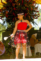 Dancers perform at Kapiolani park bandstand on May day, also known in Hawaii as lei day