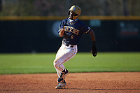 Queens Royals pinch-runner Dominic Ford (6) hustles towards third base during game two of a double-header against the Catawba Indians at Tuckaseegee Dream Fields on March 26, 2021 in Kannapolis, North Carolina. (Brian Westerholt/Four Seam Images)