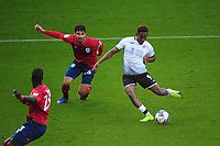 Jamal Lowe of Swansea City has a shot during the Sky Bet Championship match between Swansea City and Huddersfield Town at the Liberty Stadium in Swansea, Wales, UK. Saturday 17 October 2020