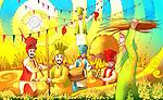 People celebrating Baisakhi festival