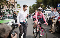 Maglia Rosa / overall leader Valerio Conti (ITA/UAE-Emirates) on his way to sign-on<br /> <br /> Stage 8: Tortoreto Lido to Pesaro (239km)<br /> 102nd Giro d'Italia 2019<br /> <br /> ©kramon