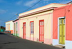 Spain, Canary Islands, La Palma, Barlovento: coloured residential buildings