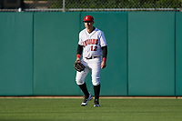 Indianapolis Indians center fielder Danny Ortiz (12) during a game against the Toledo Mud Hens on May 2, 2017 at Victory Field in Indianapolis, Indiana.  Indianapolis defeated Toledo 9-2.  (Mike Janes/Four Seam Images)