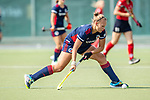 Mannheim, Germany, September 12: During the 1. Bundesliga women fieldhockey match between Mannheimer HC (blue) and Ruesselsheimer RK (red) on September 12, 2020 at Am Neckarkanal in Mannheim, Germany. Final score 2-0 (HT 1-0). (Copyright Dirk Markgraf / www.265-images.com) *** Stine Kurz #27 of Mannheimer HC