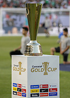 CHICAGO, ILLINOIS - JULY 07: 2019 Gold Cup trophy at the 2019 CONCACAF Gold Cup Final match between the United States and Mexico at Soldier Field on July 07, 2019 in Chicago, Illinois.