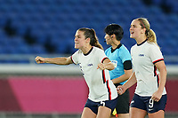 YOKOHAMA, JAPAN - JULY 30: Kelley O'Hara #5 of the United States and Lindsey Horan #9 of the United States celebrate a goal from the penalty spot during a game between Netherlands and USWNT at International Stadium Yokohama on July 30, 2021 in Yokohama, Japan.