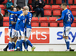 St Johnstone v Dundee…02.10.21  McDiarmid Park.    SPFL<br />Stevie May celebrates his goal<br />Picture by Graeme Hart.<br />Copyright Perthshire Picture Agency<br />Tel: 01738 623350  Mobile: 07990 594431