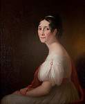 1954.42.1 <br /> Frances Paca Baker Bordley (Mrs. John Beale Bordley). <br /> Ca. 1835.<br /> Oil on canvas by John Beale Bordley.<br /> 34 x 28 inches<br /> Museum Department Gift of Dr. James Bordley, Jr.