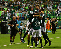 PALMIRA - COLOMBIA, 02-09-2018: Jugadores del Deportivo Cali celebran después de anotar un gol a Atlético Junior durante partido por la fecha 7 de la Liga Águila II 2017 jugado en el estadio Palmaseca de la ciudad de Palmira. / Players of Deportivo Cali celebrate after scoring a goal to Atletico Junior during match for the date 7 of the Aguila League II 2017 played at Palmaseca stadium in Palmira city.  Photo: VizzorImage/ Nelson Rios / Cont