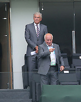 FA Officials Sir Trevor Brooking and Greg Dyke watch from the Stands