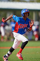Capri Ortiz (3) during the Dominican Prospect League Elite Florida Event at Pompano Beach Baseball Park on October 14, 2019 in Pompano beach, Florida.  (Mike Janes/Four Seam Images)