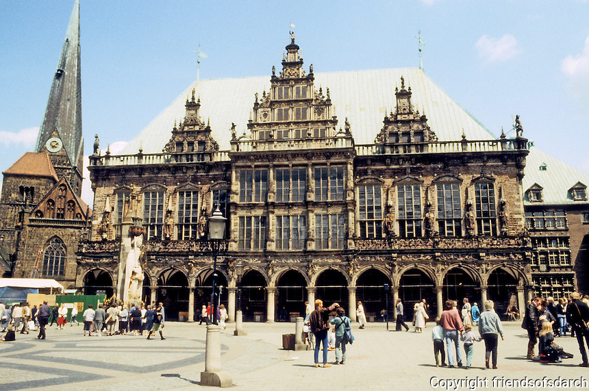 Bremen: Marktplatz--Town Hall 1612, and behind, to left, Church of Our Lady. Photo '87.