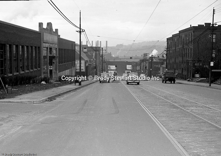 Bloomfield Section of Pittsburgh:  View of an accident scene at the 3500 block of Liberty Avenue for Railway Express.  During the 1950s, Brady Stewart Studio was a contract photographer for Railway Express, the predecessor of the Port Authority.  Brady Stewart Studio would send photographers to the accident scene and also photograph the damaged vehicles for court cases.