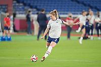 YOKOHAMA, JAPAN - JULY 30: Samantha Mewis #3 of the United States before a game between Netherlands and USWNT at International Stadium Yokohama on July 30, 2021 in Yokohama, Japan.