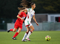 Amber Tysiak of OHL (3) in action during a female soccer game between Oud Heverlee Leuven and Femina White Star Woluwe  on the 5 th matchday of the 2020 - 2021 season of Belgian Womens Super League , Sunday 18 th of October 2020  in Heverlee , Belgium . PHOTO SPORTPIX.BE | SPP | SEVIL OKTEM