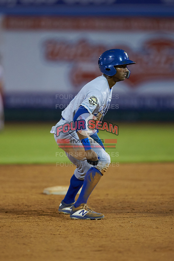 Jay Charleston (13) of the Burlington Royals takes his lead off of second base against the Pulaski Yankees at Calfee Park on August 31, 2019 in Pulaski, Virginia. The Yankees defeated the Royals 6-0. (Brian Westerholt/Four Seam Images)