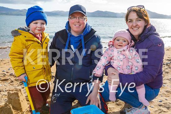 Enjoying Fenit beach on Monday afternoon, l to r: Tadgh, David and Seoidín Heaslip and Niamh Sheehan from Kilflynn.
