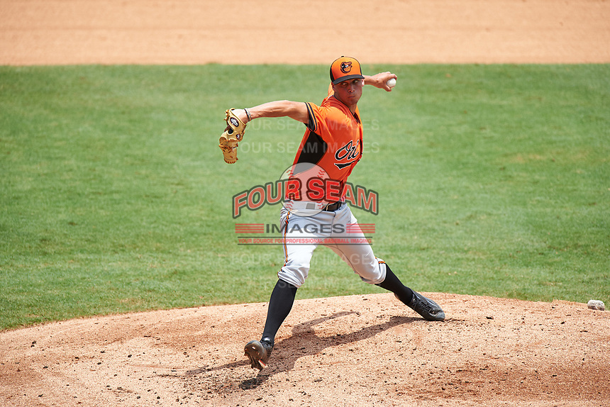 Pitcher Trevor Hillhouse (29) of Woodstock High School in Canton, Georgia playing for the Baltimore Orioles scout team during the East Coast Pro Showcase on July 30, 2015 at George M. Steinbrenner Field in Tampa, Florida.  (Mike Janes/Four Seam Images)