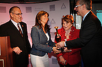 Montreal (Qc) CANADA - May 7  2012 File Photo - <br /> TV screenwriterand producer  Fabienne Larouche honored by la Fondation Emergence for  her work against homophobia (she integrate gay caracther into most of her work) and was given the  received the 10th ''Prix lutte contre l'homophobie '' by<br /> Laurent McCutcheon (L), Janette Bertrand (M-R)and   Jean-Marc Fournier, Quebec Justice Minister (R)