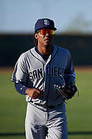 AZL Padres 1 left fielder Yordi Francisco (5) jogs off the field between innings of an Arizona League game against the AZL Indians Red on June 23, 2019 at the Cleveland Indians Training Complex in Goodyear, Arizona. AZL Indians Red defeated the AZL Padres 1 3-2. (Zachary Lucy/Four Seam Images)