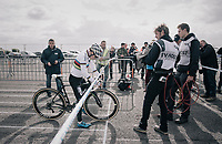 World Champion Sanne Cant (BEL/Iko-Beobank) at the start line<br /> <br /> Women's Elite race<br /> <br /> UCI cyclocross World Cup Koksijde / Belgium 2017