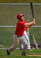 15 September 2019: Burlington Mayor and Cardinal infielder Miro Weinberger flies out for the final out of the game against the Waterbury Warthogs at Burlington High School in Burlington, Vermont. The Warthogs edged out the Cardinals 2-1 in post season play. Mandatory Credit: Ed Wolfstein Photo *** RAW (NEF) Image File Available ***