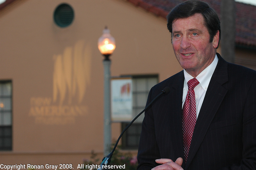 Lieutenant. Govenor of Califronia, John Garamendi speaks during the New American Museum at the NTC Promenade in Liberty Station Friday, June 20, 2008.   The museum will feature exhibits, lectures and conferences related to immigration issues.  It will also house a recording studio where families can document their own immigrant history.