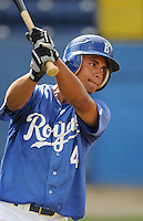 July 22, 2009: Outfielder Derek Rodriguez (4) of the Burlington Royals, rookie Appalachian League affiliate of the Kansas City Royals, prior to a game at Burlington Athletic Stadium in Burlington, N.C. Photo by: Tom Priddy/Four Seam Images