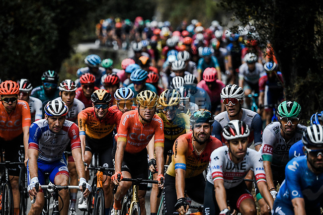 The peloton during a treacherous Stage 1 of Tour de France 2020, running 156km from Nice Moyen Pays to Nice, France. 29th August 2020.<br /> Picture: ASO/Alex Broadway   Cyclefile<br /> All photos usage must carry mandatory copyright credit (© Cyclefile   ASO/Alex Broadway)