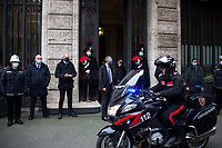 Rome, Italy. 17th Feb, 2021. The Italian Prime Minister and former President of the European Central Bank, BCE, Professor Mario Draghi, arrives at the Senate of the Italian Republic asking the Senators the vote of confidence (Voto di fiducia) for the new Italian Government.<br />