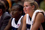 KNOXVILLE, TN--07 JANUARY 2005- 010706JS14-<br /> UConn's Barbara Turner, left and Ann Strother, both fouled out of their 80-89 loss to Tennessee  Saturday at the Thompson-Boling Arena in Knoxville, Tennessee. <br />  --Jim Shannon Republican American--UConn; Tennessee; Thompson-Boling Arena; Knoxville; Tennessee, Barbara Turner, Ann Strother are CQ